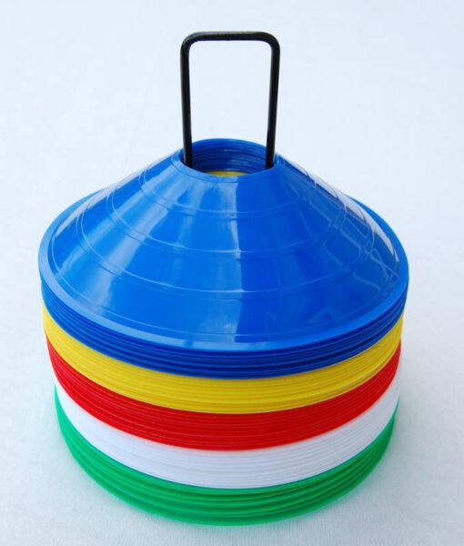 Kegler til fodbold sport og leg - 50 stk. kinahatte med holder